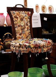 A vintage chair for displaying costume jewelry and collectible pins #DIY    I like old pins and brooches for tying scarves or on jacket lapels