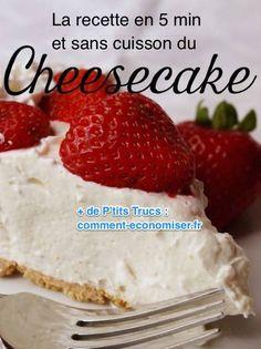 la recette rapide et facile du cheesecake en 5 minutes et sans cuisson au four 400 gr de lait concentré sucré - 250 gr de  crème fouettée sucrée - 1/3 tasse de jus de citron (jaune ou vert) - 250 gr de fromage à la crème ramolli (fromage spécial cheesecake ou Philadelphia) - 250 gr de biscuits (Petits Beurres, Spéculoos, Sablés…) - 80 gr de beurre ramolli.  Source : Comment-Economiser.fr | http://www.comment-economiser.fr/recette-cheesecake-rapide-sans-four.html