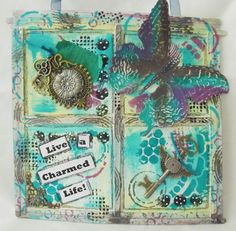 Wall Hanging ~ Made with Artful Days Embellishments Dina Wakely Gesso Comic Shimmer Paints Crafter's Workshop Mini Well rounded Mask Tim Holtz Layered Butterfly  23/03/2015 09:42