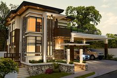 Alvarez Residence on Behance Village House Design, House Front Design, Modern Exterior House Designs, Dream House Exterior, Philippines House Design, Modern Tropical House, House Architecture Styles, House Plans Mansion, 2 Storey House Design