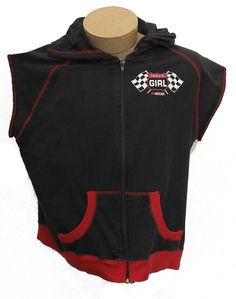 Nascar Track Girl Hoodie Size XL Zip Front Black/Red Sleeveless Cotton Jersey #Nascar #hoodie #Casual