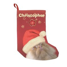 Vintage Red Gold Meow Christmas Stocking