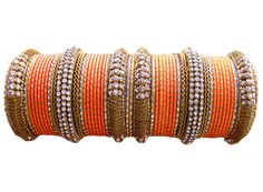 #Orange Color #Designer #Bangles Indian #Bracelet Set  by Shoppingover