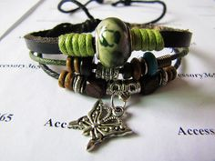 Men or Women Soft Leather Bracelet with Bead by braceletcool, $7.50