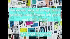 Printing with Gelli Arts®: Image Resist Printing Using StazOn + Gelli Arts® by Birgit Koopsen Gel Press, Some Beautiful Images, Gelli Plate Printing, Gelli Arts, Magazine Images, Art Prompts, Art Journal Pages, Art Journals, Ink Pads