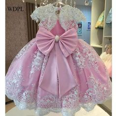 Pink Ball Gown Flower Girls Dresses For Weddings Vestido daminha Pearls Sash Bow Cap Sleeves White Lace First Communion Dress Baby Girl Birthday Dress, Baby Girl Party Dresses, Girls Pageant Dresses, Birthday Dresses, Little Girl Dresses, Baby Dress, The Dress, Dress Lace, Party Gowns