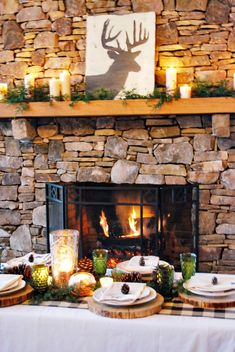 Christmas Entertaining Ideas---I love this fireplace! So rustic and cozy! Noel Christmas, Country Christmas, Christmas And New Year, All Things Christmas, Winter Christmas, Christmas Crafts, Christmas Decorations, Simple Christmas, Christmas Entertaining