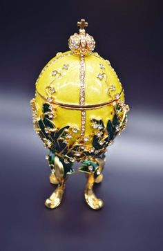 Yellow Large Faberge Egg souvenir Exquisite Rhinstone Jewelry Metal Craft  #YellowLarge #FabergeEgg #souvenir #ExquisiteRhinstone #Jewelry #MetalCraft