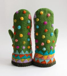 Too bad it never gets cold in the Carolinas...  mitten16 was made from wool, then dyed and embroidered.