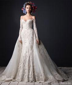 rami al ali bridal 2015 off shoulder lace wedding dress long sleeves ball gown overskirt train