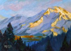 Art by Mary Rochelle Burnham: Dawn Breaks Over Mt Shasta