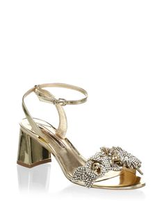 fad5d999fec Lilico Crystal Embellished Metallic Leather Block Sandals by SOPHIA WEBSTER.  Gold Block HeelsBlock ...