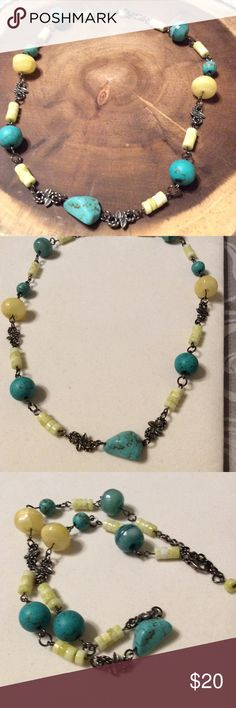 """Turquoise, and Yellow Jasper Necklace This handmade necklace is 21"""" long, design and made by me using very beautiful combination of Yellow Jasper and Turquoise beads. This necklace will look great with a summer outfit or in the office. Jewelry Necklaces"""