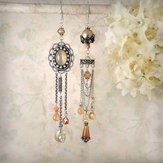 Moonglow Asymmetric Peach Moonstone Chandelier Earrings, OOAK by MiaMontgomery