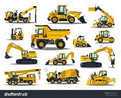 Big set of construction equipment. Special machines for the construction work. Forklifts, cranes, excavators, tractors, bulldozers, trucks. Special equipment. Road repair. Commercial Vehicles.