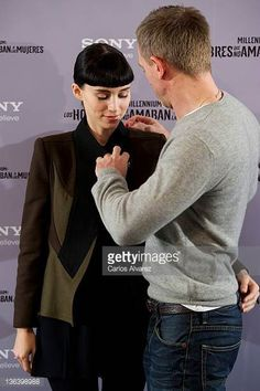 Actress Rooney Mara and actor Daniel Craig attend 'The Girl With The Dragon Tattoo' photocall at Villamagna Hotel on January 4 2012 in Madrid Spain