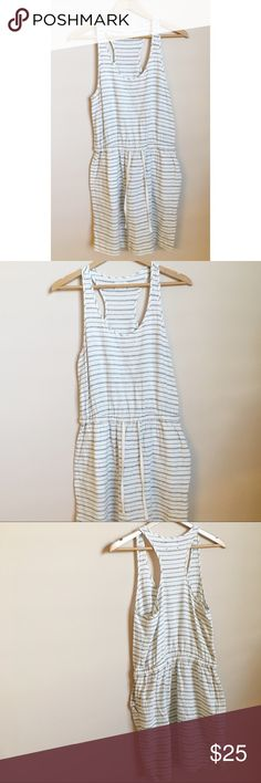 """Lou & Grey Linen Striped Dress Navy and white striped linen dress from Lou & Grey with drawstring  waist and pockets! Excellent pre-owned condition, no visible flaws. Size small.  Measurements taken laid flat.  Bust: 17"""" - Waist: 14"""" - Length: 36"""" Lou & Grey Dresses"""