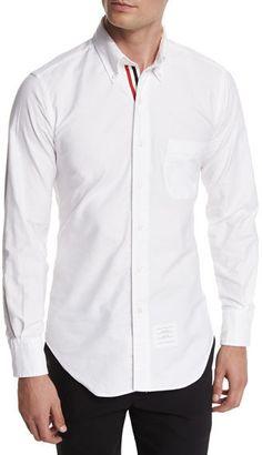 c203ba6f1754 Thom Browne Long-Sleeve Cotton Oxford Shirt