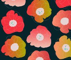 pop pop (coral on black) fabric by anna_lisa_brown on Spoonflower - custom fabric