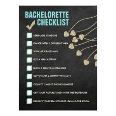 Bachelorette Checklist Card (blue and gold)