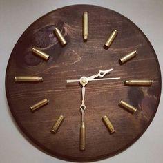 Dark Walnut Bullet Casing Clock Ammo Clock by kristascasingcrafts Bullet Casing Crafts, Bullet Crafts, Armas Wallpaper, Shotgun Shell Crafts, Shotgun Shells, Arte Pallet, Gun Decor, Ammo Crafts, Ammo Art
