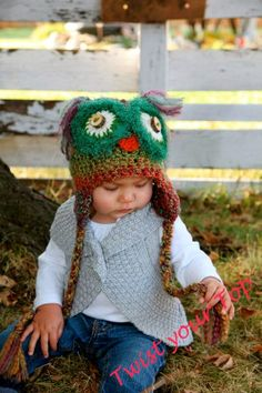 Green Owl Hat with Ear Flaps and Braids by Twistyourtop on Etsy, $35.00