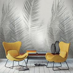 Palme Wallpaper by Brian Yates Best Home Interior Design, Cafe Interior, Interior Decorating, Bedroom Murals, Bedroom Decor, Wall Decor, Wall Design, House Design, Diy Wall Painting
