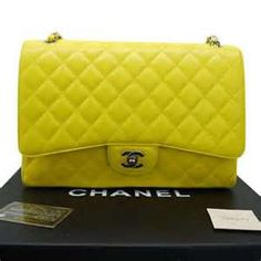 # WholesaleBagClan.COM  Chanel quilted handbag in neon yellow