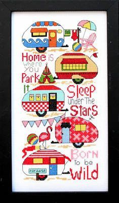 """Hardanger Embroidery Patterns Bobbie G Designs - Born To Be Wild – Stoney Creek Online Store - -Model is stitched on White Aida. -The stitch count is x -DMC floss used: 3325 and """"Home is where you park it."""" """"Sleep under the stars."""" """"Born to be wild. Hardanger Embroidery, Learn Embroidery, Embroidery Patterns, Hand Embroidery, Quilt Patterns, Beaded Cross Stitch, Counted Cross Stitch Patterns, Cross Stitch Designs, Cross Stitch Embroidery"""