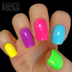 Orly Beach Cruiser, Frolic ; Claires Bubbles ; Piggy Polish Is Anybody Gnome ; Funky Fingers Like Clockwork - one coat over Sally Hansen Mellow Yellow ; 5/26/14 ; adifferentshadeofpolish