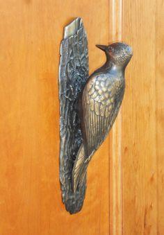 Woodpecker door knocker by Martin Pierce Hardware Los Angeles CA 90016 Photo Doug Hill