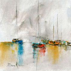 L'oeuvre unique et originale Composition a été réalisée par l'artiste Bruno Klein, qui peint des oeuvres à la frontière entre abstrait et figuratif, représentant souvent des paysages.