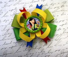 """Princess Mulan 3"""" Toddler Boutique Stacked Hair Bow Bottle cap Style by #LaPrincesseBows Birthday Party Favor"""