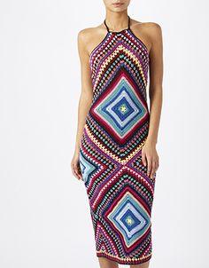 Monsoon   Cristiana Crochet Halter Neck Dress   Multi   Medium