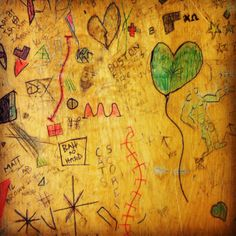 Old Time School Room | Sushipot: School Desk Graffiti
