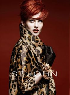 Glamour girl with flaming red hair and leopard coat. Ooh la la, looking absolutely marvelous!