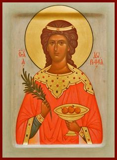 Icon of Saint Dorothy, made to order. Catalog of St Elisabeth Convent. Byzantine Icons, Byzantine Art, Religious Icons, Religious Art, Faith Scripture, Divine Light, Hand Painted, Hand Carved, Orthodox Icons