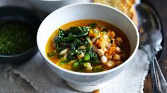 Minestrone soup with legumes and bacon