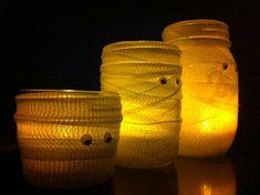Fun, cute & simple!! Mummy Mason Jar Halloween Centerpieces by DownInTheBoondocks, $18.00