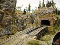 model railroad industries images | Large model railroad with train on bridge