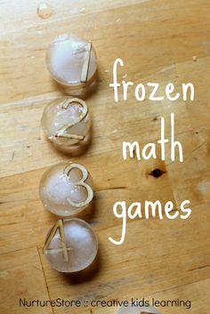 Frozen math games for multi-sensory learning :: math center for counting :: ice sensory play ideas Counting Activities, Sensory Activities, Winter Activities, Math Games, Sensory Play, Number Activities, Group Activities, Toddler Activities, Maths Eyfs