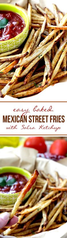 Easy baked Mexican Street Fries bursting with fiesta spices for a healthy snack, side or appetizer that no one will be able to stop munching! #fries #Mexicanfries #chipotlefries #bakedfries