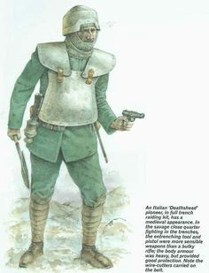 Raiding kit, has a medieval appearance. In the savage close quarter fighting in the trenches, pistol were more sensible weapons than a bulky was heavy, but provided good protection. Note the - iFunny :) Plate Carrier, Body Armor, Raiders, Popular Memes, Savage, Trench, Weapons, Medieval, History