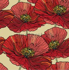 Exactly how I want my poppies done but with blue middles. Like an old time-y illustrated plant book.