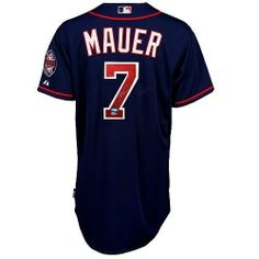 Joe Mauer Signed Alt. Blue Minnesota Twins Jersey - MLB Holo . $408.50. This is a Joe Mauer signed Authentic Twins Blue Alternative jersey. The jersey includes the Target Field Inaugueral Stadium Patch. Mauer was drafted in 2001 with the 1st overall draft pick out of High School. He enjoyed a breakout year in 2006 where he became the first catcher to win the American League Batting Title! He finished the season with a MLB best .347 average. He is a 3-time All star and won the 20...