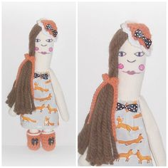 Long Hair Hippie Rag Doll Handmade Crochet Fabric All Stitched Up Raggedy Whimsy Boho Art Doll Hand Painted Folk Art Doll Fox Dress Art Doll by ICreateAndCollect on Etsy