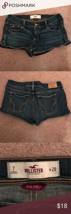Hollister jean shorts Size 7 socal stretch. Dark wash Hollister shorts. Hollister Shorts Jean Shorts