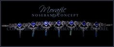 A variation on the exquisite Pianissima design, this stunning noseband features ornate silver floral accents, alternated with incredible silver and blue accents. Each one of these gorgeous pieces features five genuine Swarovski crystals, four small and one large, beautifully faceted to catch the light. Complete with elegant blue nose drops. This is an amazing design, and can be made with your choice of trim/velvet/accents on the sides