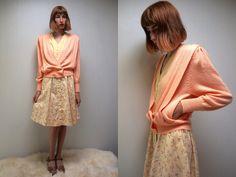 CROPPED CARDIGAN Summer Sweater 80s Sweater Boho Cardigan 80s Cardigan Womens Sweater Knit Cardigan Sweater Peach Sweater Acrylic Sweater