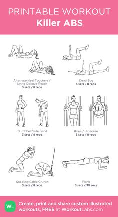 Killer ABS:my visual workout created at WorkoutLabs.com • Click through to customize and download as a FREE PDF! #customworkout